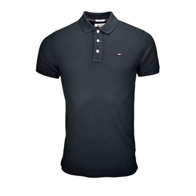 efd95dcdcb2 Tommy hilfiger - Polo basic Flag noir pour homme - pas cher Achat   Vente Polo  homme - RueDuCommerce