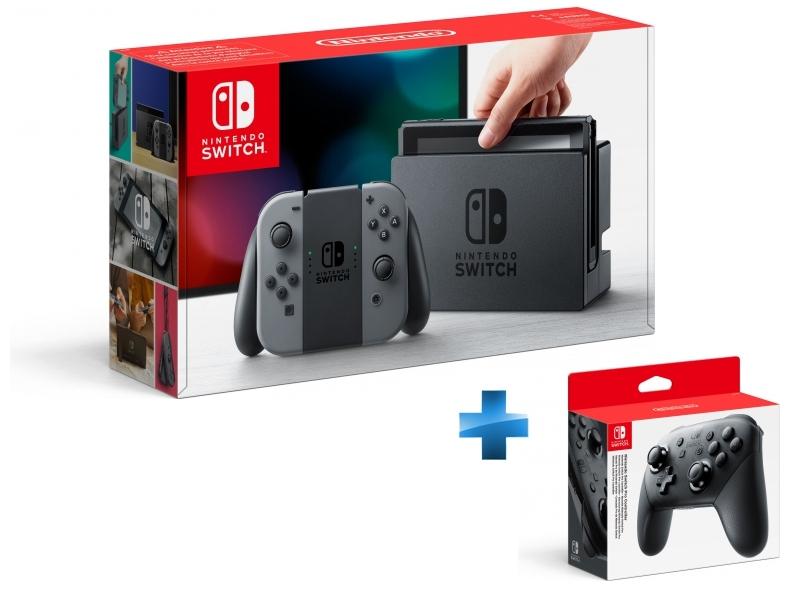 Console Switch avec une paire de Joy-Con Gris + Manette Switch Pro