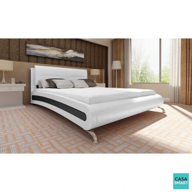 Casasmart lit kavala 140 × 200 cm en simili cuir