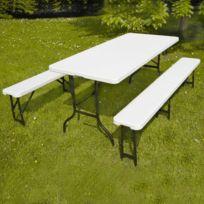 Mobeventpro - Table pliante camping et 2 bancs pliants de jardin 180cm 8 places - réception buffet traiteur
