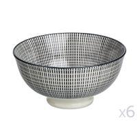 Pomax - Bol en porcelaine imprimé rayé noir et blanc - Lot de 6 Sagon Black