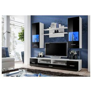 Chloe design meuble tv design mural peker noir et blanc for Meuble mural multimedia
