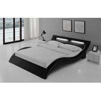 Design et Prix - Magnifique Lit Milano 140x190 cm - Cadre de lit Led en simili cuir Noir