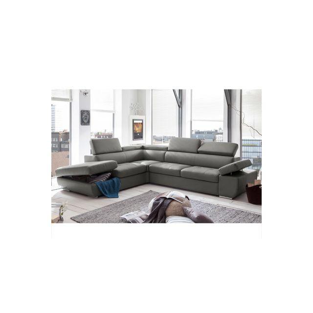 Canapé d'angle fixe avec coffre gauche en Pvc gris clair Medina