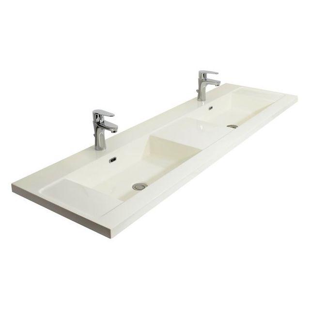 vasque a poser pas cher Générique - Double Vasque à poser 140 cm Lavabo de salle de bain Blanc  Brillant
