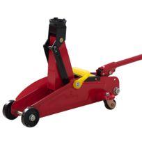 HOMCOM - Cric hydraulique a roulettes en acier haut de gamme capacite de levage 2000kg / 2t rouge 07