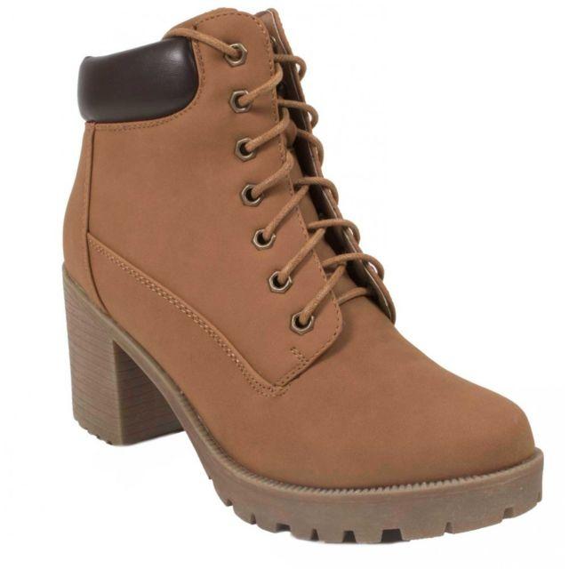 bf35c5616a Primtex - Boots Rangers femme à talon et lacets avec semelle crantée camel  ou noir. Couleur : Camel