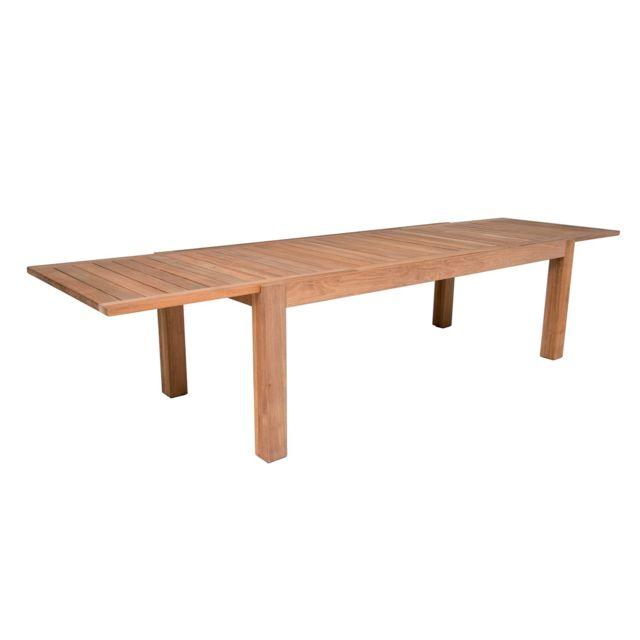 Gecko Jardin - Table extensible en teck massif 230/340x100 cm ...