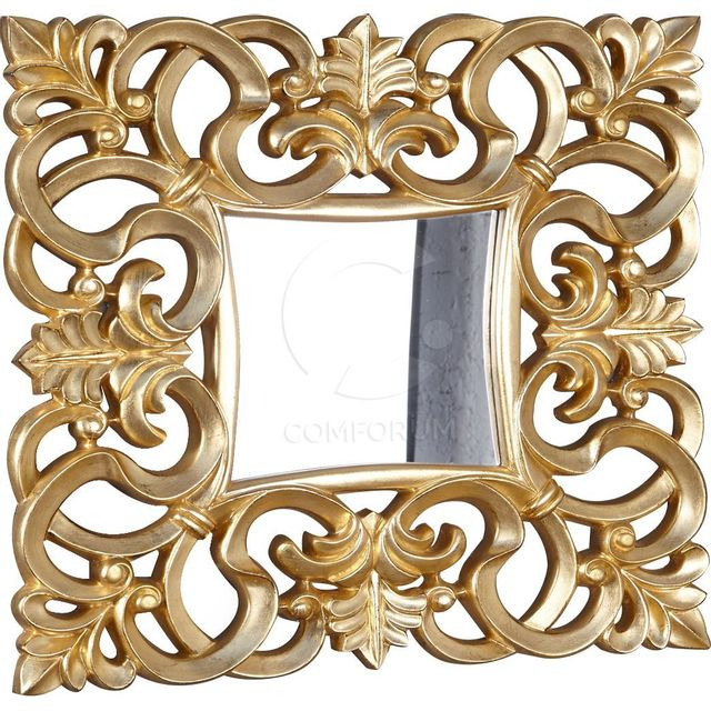 Comforium Miroir mural carré coloris doré design antique
