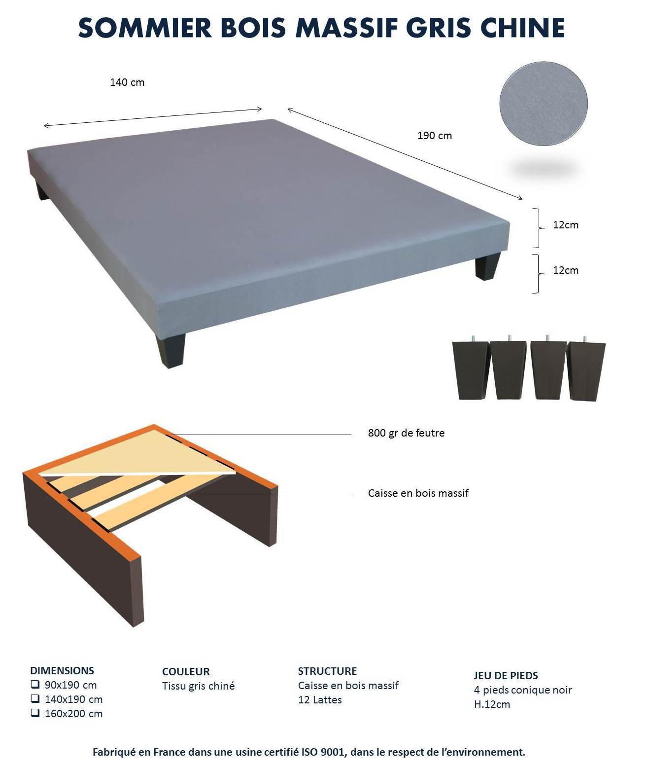 lovea sommier 12 lattes d co gris chin pieds 90x190cm pas cher achat vente sommiers. Black Bedroom Furniture Sets. Home Design Ideas