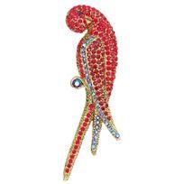 Blue Pearls - Broche Perroquet Rouge en Cristal de Swarovski Elements et Monture Plaqué Or Jaune - Cry D501 B