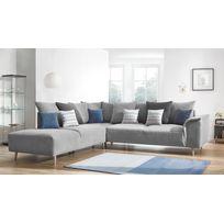 Canapé d'angle LONDON - 6 places - Fixe - Angle gauche - Gris clair - 267cm x 79cm x 290cm