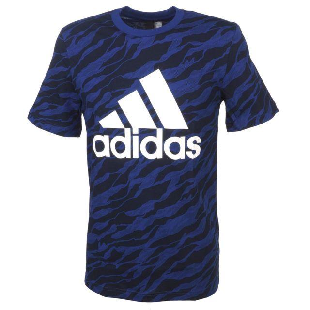 48620e648e043 Adidas - Tee shirt manches courtes Adidas Ess aop mystery ink Bleu 14908
