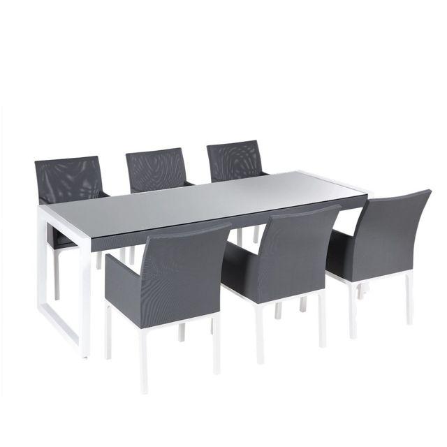 BELIANI - Ensemble de jardin en aluminium gris table et 6 ...