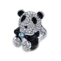 Blue Pearls - Bague Panda en Cristal de Swarovski Elements Blanc et Noir -  T54 - 2a678d82f857