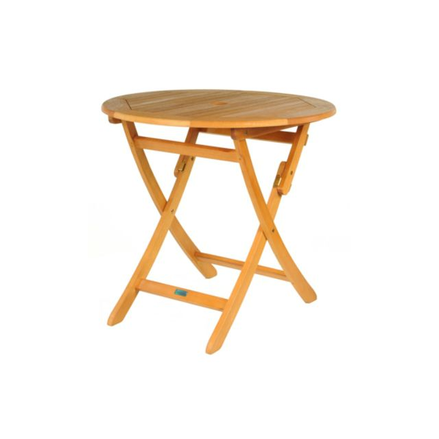 PROLOISIRS Table ronde pliante look teck