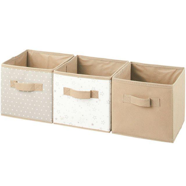 touslescadeaux 3 boites de rangement cube coloris taupe. Black Bedroom Furniture Sets. Home Design Ideas
