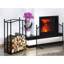 Farm - Mdlt - Ensemble rack à bûches rectangulaire 90x60x25 cm et cran de cheminée 100x72x15 cm en acier noir