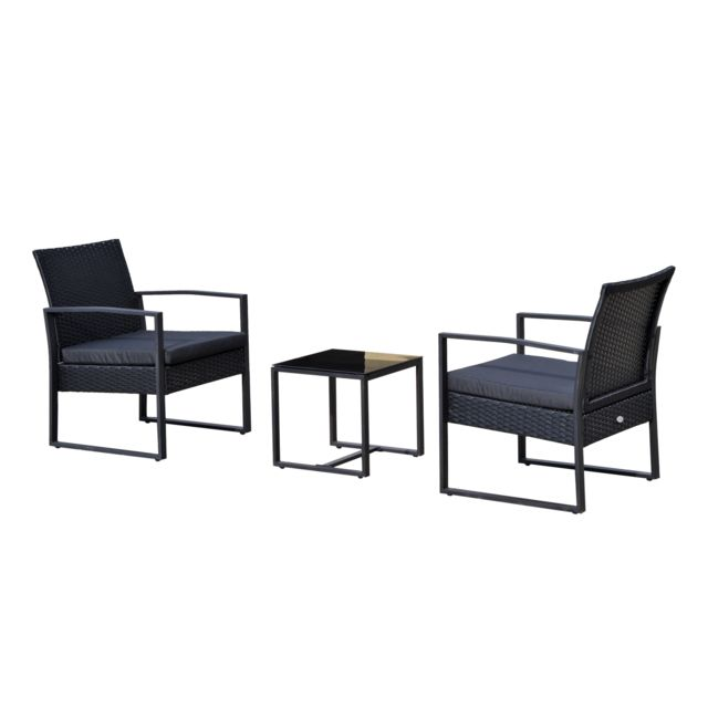 OUTSUNNY - Salon de jardin 2 places 3 pièces 2 chaises avec coussins ...