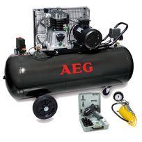 Aeg - Compresseur Cuve 150 Litres ,3 cv mono , bicylindre livré avec un coffret clé a choc , un flexible et une poignée de gonflage