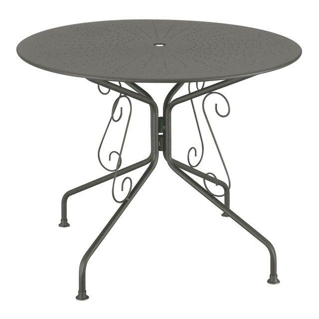 carrefour table de jardin ronde romantique graphite. Black Bedroom Furniture Sets. Home Design Ideas