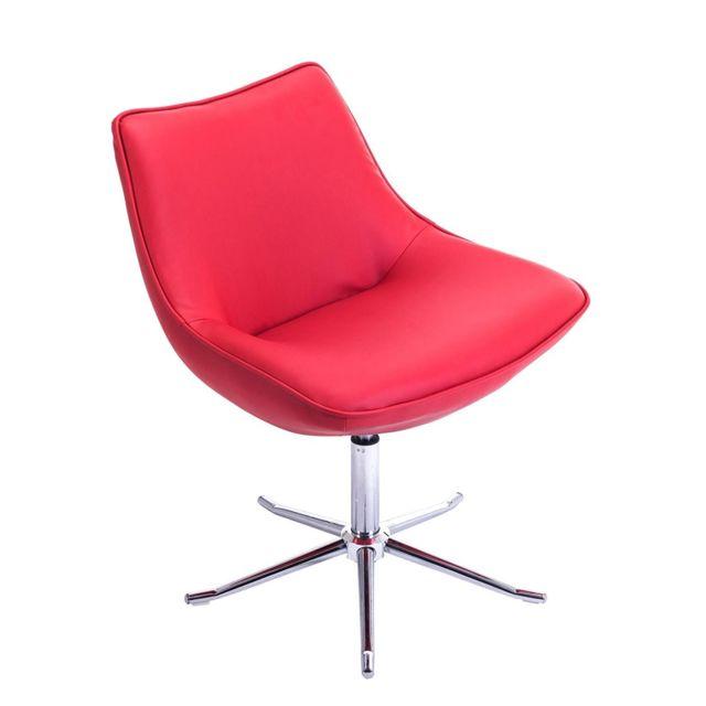 Kayelles Don Fauteuil lounge design piétement métal Rouge