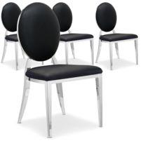 MENZZO - Lot de 4 chaises médaillon Sofia Noir