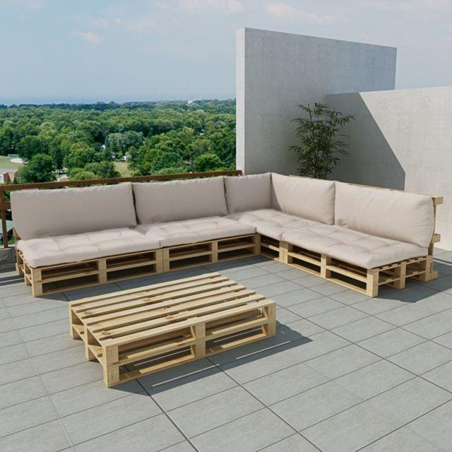 Maja+ - Salon de jardin 15 pcs en palette avec coussins ...