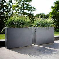Elho - Jardinière rectangle brise vue hauteur 59cm en polyéthylène 80x30cm Pure - Anthracite
