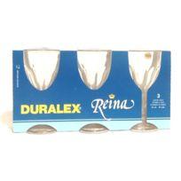 Duralex - Verres à pied eau en verre 24 cl Reina x 3