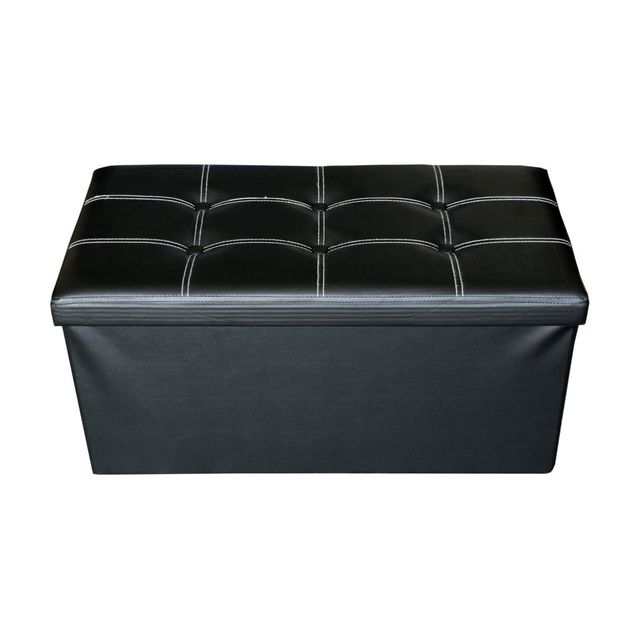 Mobili Rebecca Pouf Coffre de rangement Banc Rectangle Noir Stokage 38x76x38