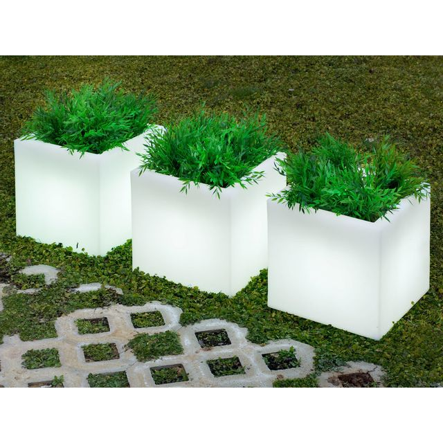 New Garden Pot de fleur lumineux en polyéthylène blanc diamètre 40 cm Narciso