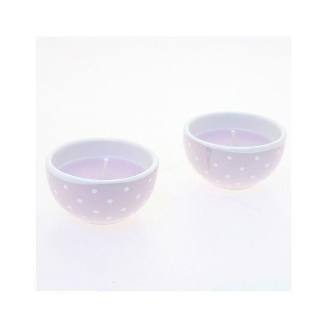 Comptoir Des Bougies Lot de 2 bougies avec imprimés motif cercles - Lilas