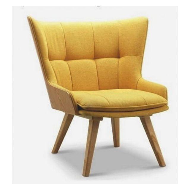 Mathi Design Kotka - Fauteuil scandinave en tissu jaune et bois