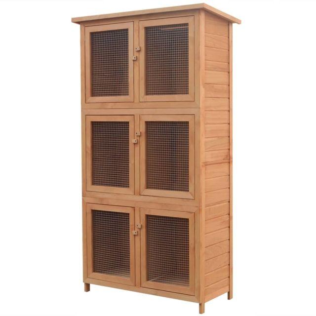 Vidaxl Cage pour animaux 6 compartiments Bois