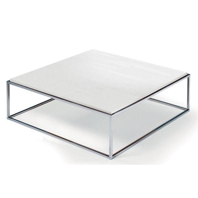 Inside 75 Table basse carrée Mimi Xl blanc céruse structure acier inoxydable poli