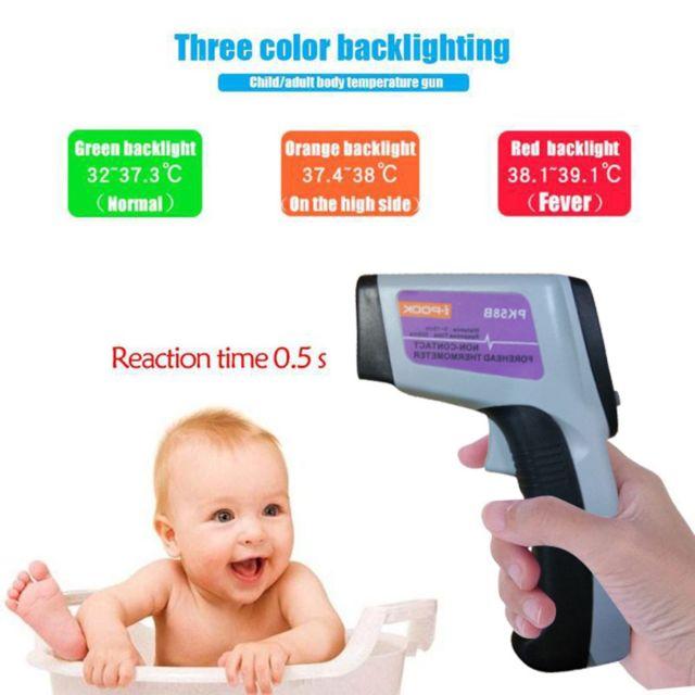 Generic Thermomètre frontal sans contact Thermomètre temporel à infrarouge numérique - Noir