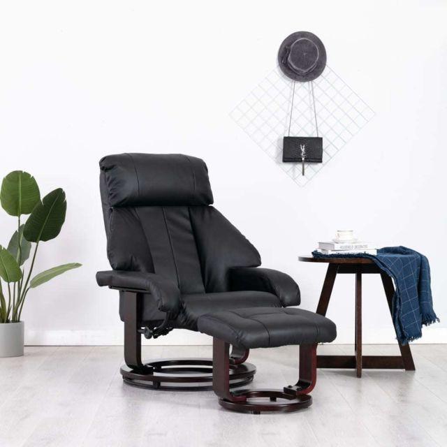 Vidaxl Fauteuil Tv avec Repose-pied Noir Similicuir Inclinable Salon Maison