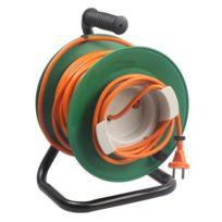 Zenitech - Enrouleur électrique 25m sans prise 2x1.5 mm² avec pied en métal et coupe circuit
