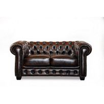 Linea Sofa - Canapé chesterfield 2 places Brenton 100% cuir de buffle - Chocolat reflets châtains