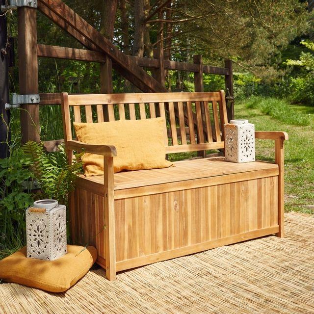 bois dessus bois dessous banc coffre en bois d 39 acacia pas cher achat vente banc de jardin. Black Bedroom Furniture Sets. Home Design Ideas