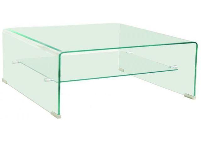 Declikdeco La table basse carrée avec 1 étagère fait partie de la gamme Otta de mobilier transparent en verre courbé aux lignes épu