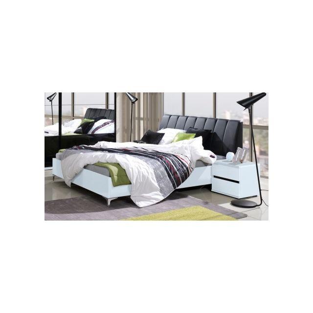 price factory ensemble lit adulte 160x200 cm t te de lit chevets sommier saragossa noir. Black Bedroom Furniture Sets. Home Design Ideas