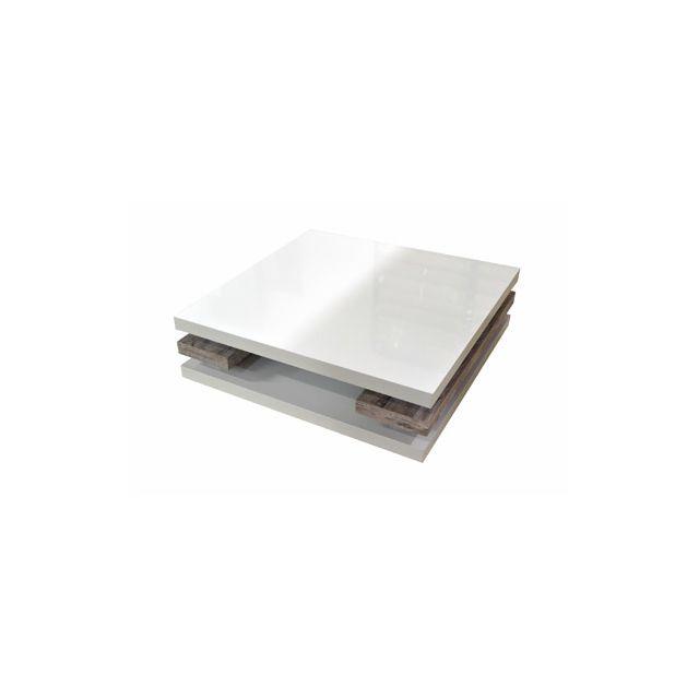 Table basse 90x90x30cm coloris blanc laqué et bois