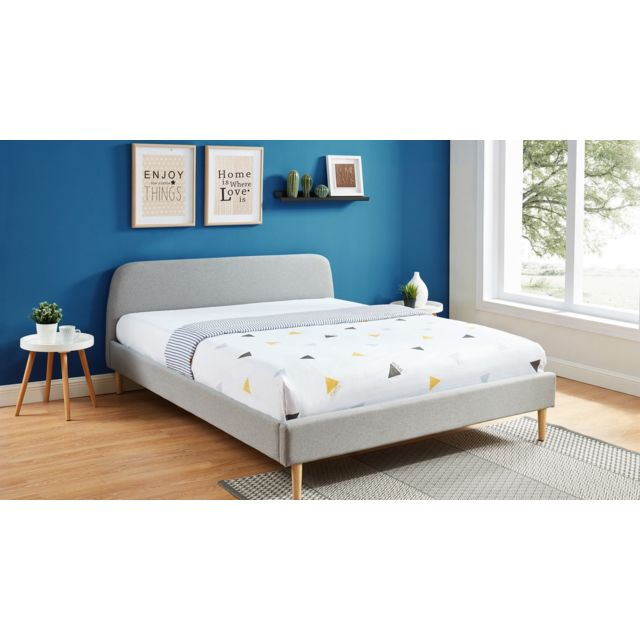 Lit Adulte Scandinave 160x200 Gris Clair Collection Gaby