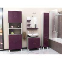 Miroir De Salle De Bain Corail Meuble miroir de salle de bain L 60 cm -  Aubergine laqué