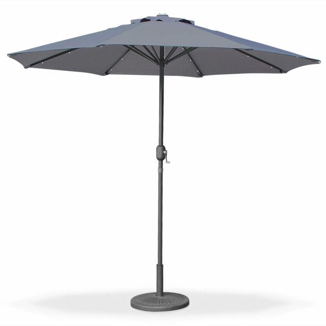alice 39 s garden parasol led rond 2 7m helios gris. Black Bedroom Furniture Sets. Home Design Ideas