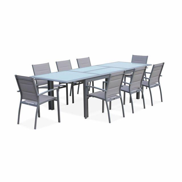 ALICE'S GARDEN Salon de jardin table extensible - Philadelphie Gris clair - Table en aluminium 200/300cm, 8 fauteuils en textilène