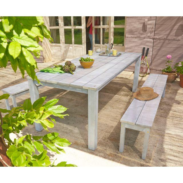 rue du commerce table de jardin et 2 bancs coloris gris c rus gd76107 pas cher achat. Black Bedroom Furniture Sets. Home Design Ideas