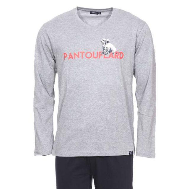 Arthur Pyjama long Pantoufle : tee-shirt manches longues col V gris chiné floqué  Pantouflard  et pantalon bleu marine